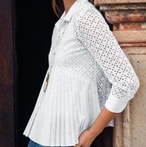 HD In Paris White Pleated Eyelet Cotton Blouse 4